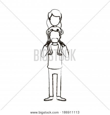 blurred silhouette caricature faceless bearded father with moustache and girl on his back vector illustration