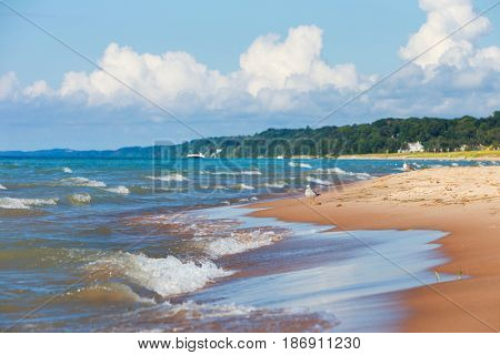 Beach background, Lake Michigan