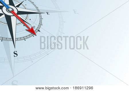 Compass southeast. Compass with wind rose, the arrow points to the southeast. Compass on a blue background. Compass illustrations can be used as background