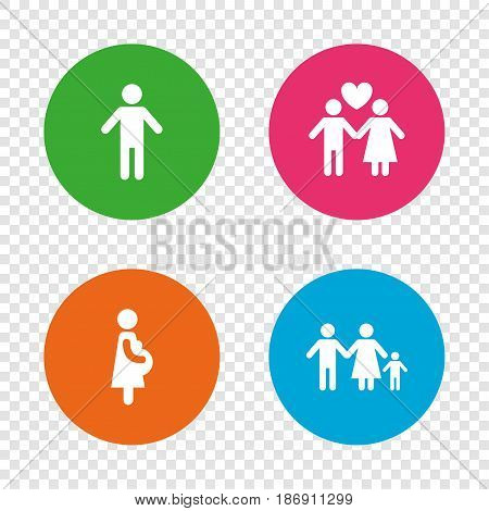 Family lifetime icons. Couple love, pregnancy and birth of a child symbols. Human male person sign. Round buttons on transparent background. Vector