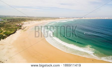 Aerial view of surfing in Baleal near Peniche, Portugal
