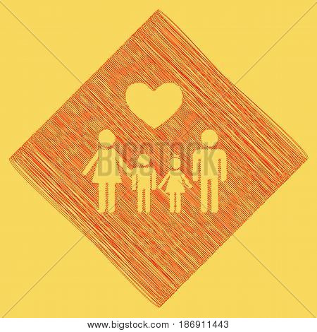 Family symbol with heart. Husband and wife are kept children's hands. Vector. Red scribble icon obtained as a result of subtraction rhomb and path. Royal yellow background.