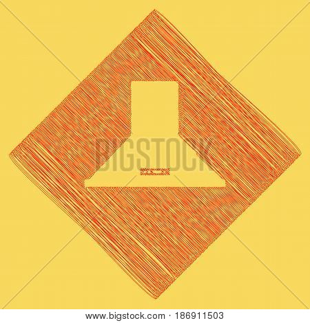 Exhaust hood. Kitchen ventilation sign. Vector. Red scribble icon obtained as a result of subtraction rhomb and path. Royal yellow background.