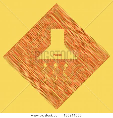Exhaust hood. Range hood. Kitchen ventilation sign. Vector. Red scribble icon obtained as a result of subtraction rhomb and path. Royal yellow background.