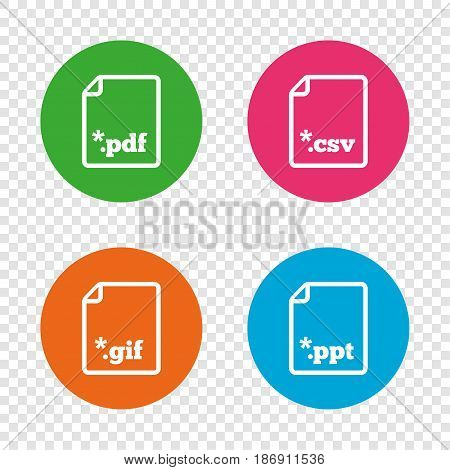 Download document icons. File extensions symbols. PDF, GIF, CSV and PPT presentation signs. Round buttons on transparent background. Vector