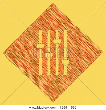 Adjustment music line sign. Vector. Red scribble icon obtained as a result of subtraction rhomb and path. Royal yellow background.