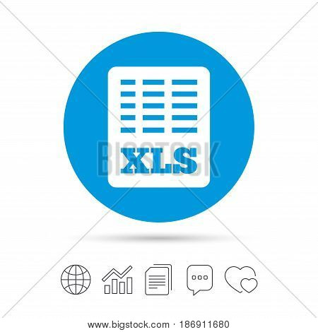 Excel file document icon. Download xls button. XLS file symbol. Copy files, chat speech bubble and chart web icons. Vector