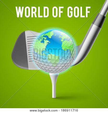 Concept Golf Tournament World. Illustration on Green Background