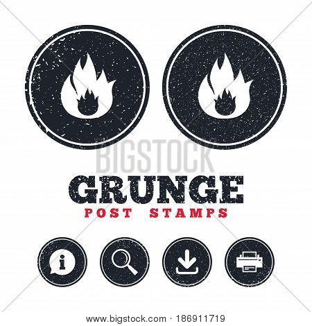 Grunge post stamps. Fire flame sign icon. Fire symbol. Stop fire. Escape from fire. Information, download and printer signs. Aged texture web buttons. Vector