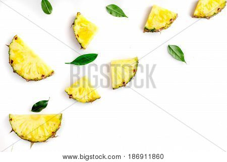 sliced pineapple in exotic summer fruit design on white background top view mock-up