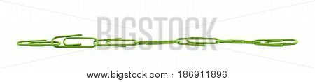 Line of office clips isolated over the white background