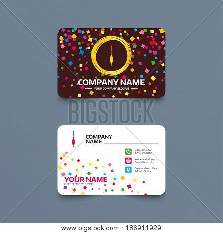 Business card template with confetti pieces. Fishing sign icon. Float bobber symbol. Fishing tackle. Phone, web and location icons. Visiting card  Vector