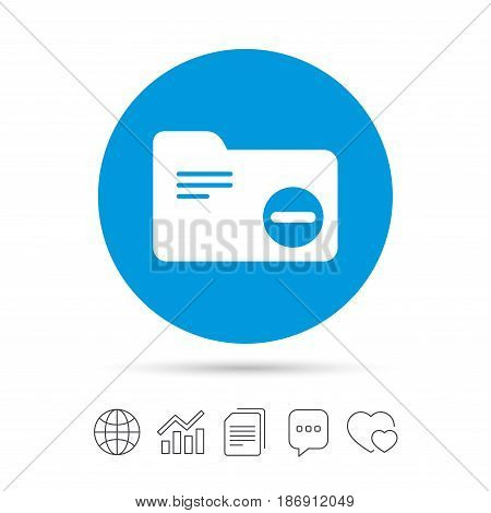 Delete document folder sign. Accounting binder symbol. Bookkeeping management. Copy files, chat speech bubble and chart web icons. Vector
