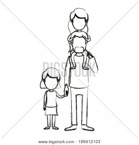 blurred silhouette caricature faceless dad with daugther on his back and girl taken hands vector illustration