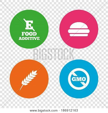 Food additive icon. Hamburger fast food sign. Gluten free and No GMO symbols. Without E acid stabilizers. Round buttons on transparent background. Vector