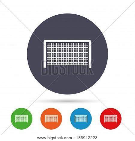 Football gate sign icon. Soccer Sport goalkeeper symbol. Round colourful buttons with flat icons. Vector