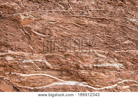 Veins of White Rock in Red Rock Wash Background Texture