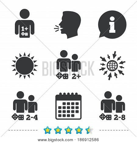 Gamer icons. Board games players sign symbols. Information, go to web and calendar icons. Sun and loud speak symbol. Vector