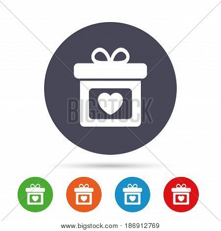 Gift box sign icon. Present with heart love symbol. Round colourful buttons with flat icons. Vector