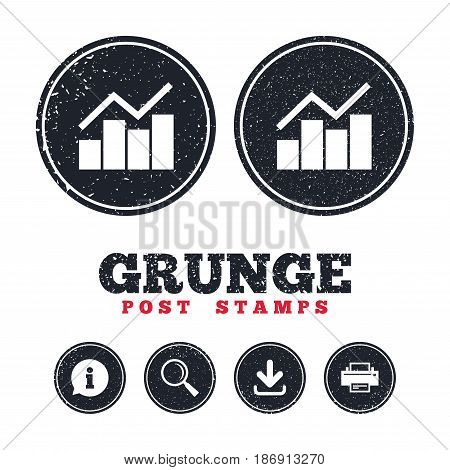 Grunge post stamps. Graph chart sign icon. Diagram symbol. Statistics. Information, download and printer signs. Aged texture web buttons. Vector