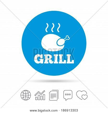 Roast chicken grill sign icon. Hen bird meat symbol. Copy files, chat speech bubble and chart web icons. Vector