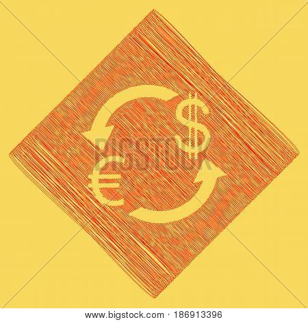Currency exchange sign. Euro and Dollar. Vector. Red scribble icon obtained as a result of subtraction rhomb and path. Royal yellow background.