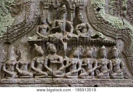 Relief detail in Ta Prohm Temple Cambodia.