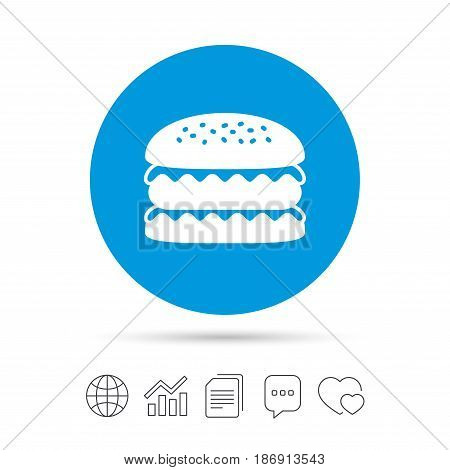 Hamburger icon. Burger food symbol. Cheeseburger sandwich sign. Copy files, chat speech bubble and chart web icons. Vector