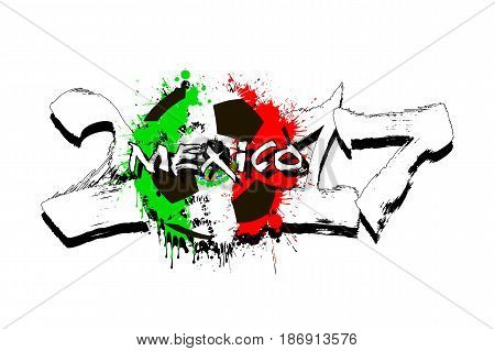 Number 2017 And Soccer Ball Painted In The Colors Of The Mexico
