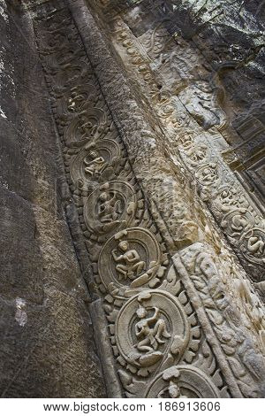 Ornate detailed carvings in Ta Prohm Temple Cambodia.
