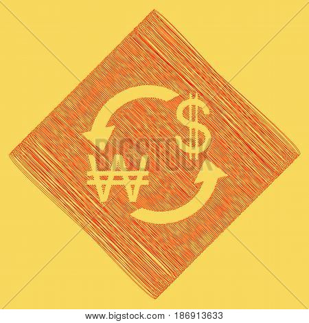 Currency exchange sign. South Korea Won and US Dollar. Vector. Red scribble icon obtained as a result of subtraction rhomb and path. Royal yellow background.