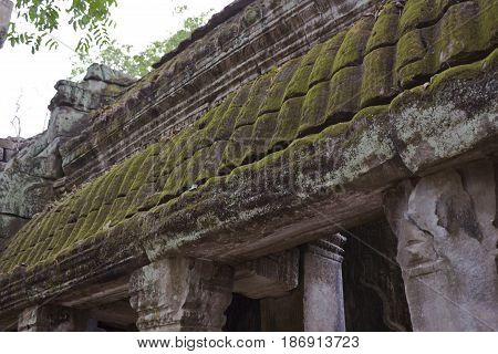 Roof detail in Ta Prohm Temple Cambodia.
