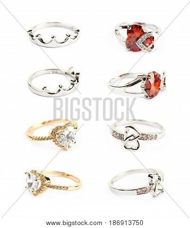 Set of multiple different rings isolated over the white background