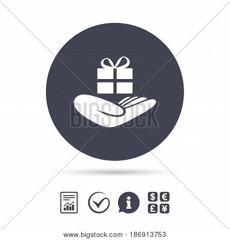 Give a gift sign icon. Hand holds present box with bow. Report document, information and check tick icons. Currency exchange. Vector