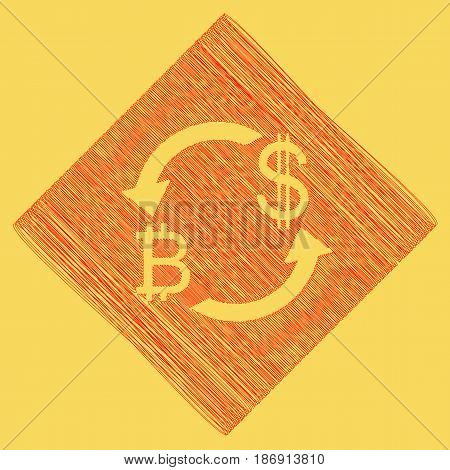 Currency exchange sign. Bitcoin and US Dollar. Vector. Red scribble icon obtained as a result of subtraction rhomb and path. Royal yellow background.