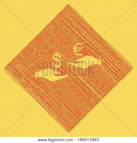Currency exchange from hand to hand. Dollar adn Euro. Vector. Red scribble icon obtained as a result of subtraction rhomb and path. Royal yellow background.