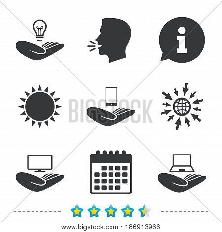 Helping hands icons. Intellectual property insurance symbol. Smartphone, TV monitor and pc notebook sign. Device protection. Information, go to web and calendar icons. Sun and loud speak symbol