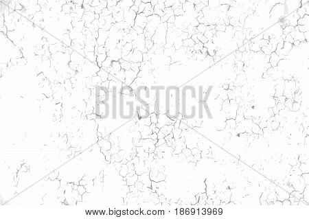 Cracked concrete wall background. Grunge black and white vector texture template for overlay artwork.