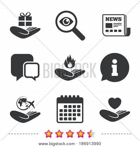 Helping hands icons. Health and travel trip insurance symbols. Gift present box sign. Fire protection. Newspaper, information and calendar icons. Investigate magnifier, chat symbol. Vector