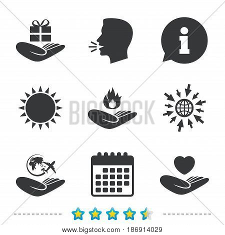 Helping hands icons. Health and travel trip insurance symbols. Gift present box sign. Fire protection. Information, go to web and calendar icons. Sun and loud speak symbol. Vector