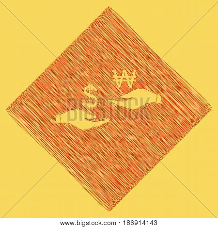 Currency exchange from hand to hand. Dollar and South Korea Won. Vector. Red scribble icon obtained as a result of subtraction rhomb and path. Royal yellow background.