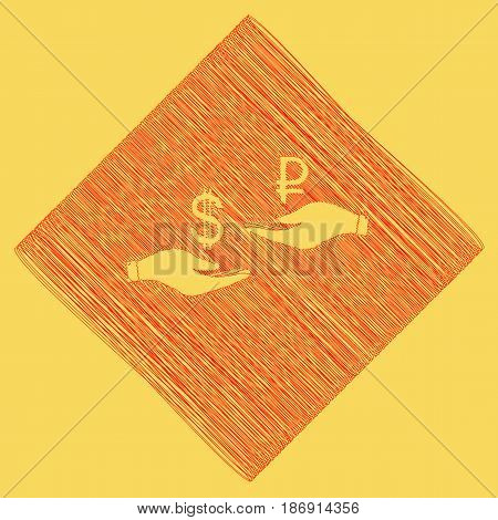 Currency exchange from hand to hand. Dollar and Ruble. Vector. Red scribble icon obtained as a result of subtraction rhomb and path. Royal yellow background.