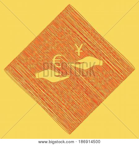 Currency exchange from hand to hand. Euro and Yuan. Vector. Red scribble icon obtained as a result of subtraction rhomb and path. Royal yellow background.