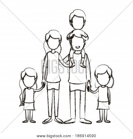 blurred silhouette caricature faceless big family parents with boy on his back and daugthers taken hands vector illustration