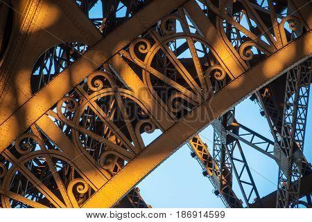 Arch structure Eiffel Tower Tour Eiffel blue sky steel structure in evening sunset sun