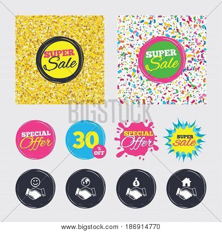 Gold glitter and confetti backgrounds. Covers, posters and flyers design. Handshake icons. World, Smile happy face and house building symbol. Dollar cash money bag. Amicable agreement. Sale banners