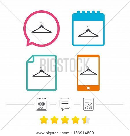 Hanger sign icon. Cloakroom symbol. Calendar, chat speech bubble and report linear icons. Star vote ranking. Vector