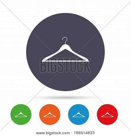 Hanger sign icon. Cloakroom symbol. Round colourful buttons with flat icons. Vector