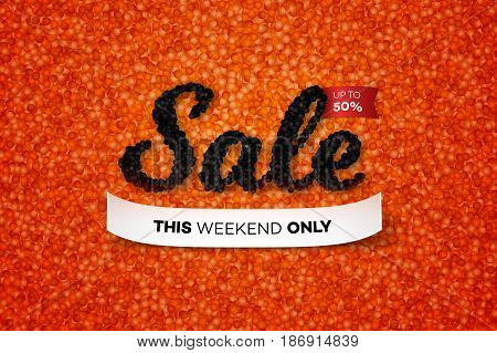 Sale Banner With Realistic Black Caviar Over Red. Vector Text Design Template For Advertising Products. Promotional Concept.