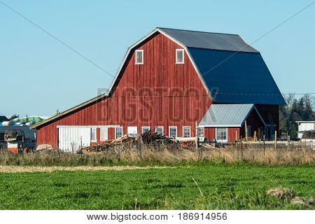 Working red barn in Skagit Valley, WA